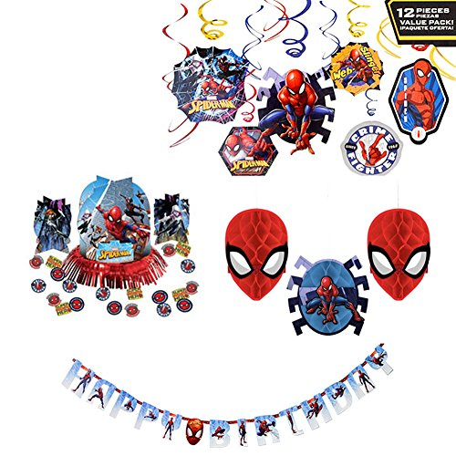 Marvel Spiderman Decorations Party Supplies Pack - Hanging Swirls, Table Decorating Kit, Honeycomb Decorations, and Jumbo Letter Banner