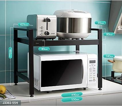 Soporte de Horno de Microondas de Acero Inoxidable Gabinete de Contador de Cocina Estante de Almacenamiento Organizador de Casa