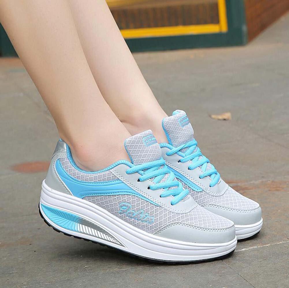 SHINIK Chaussures de sport décontractées pour femmes Summer Shake Shoes  épais antidérapant chaussures de course bleu 9bd246c6dadb