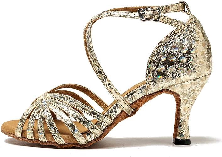 YKXLM Women's SatinLeather Latin Dance Shoes Standard Salsa Performance Ballroom Shoes,Model UK213
