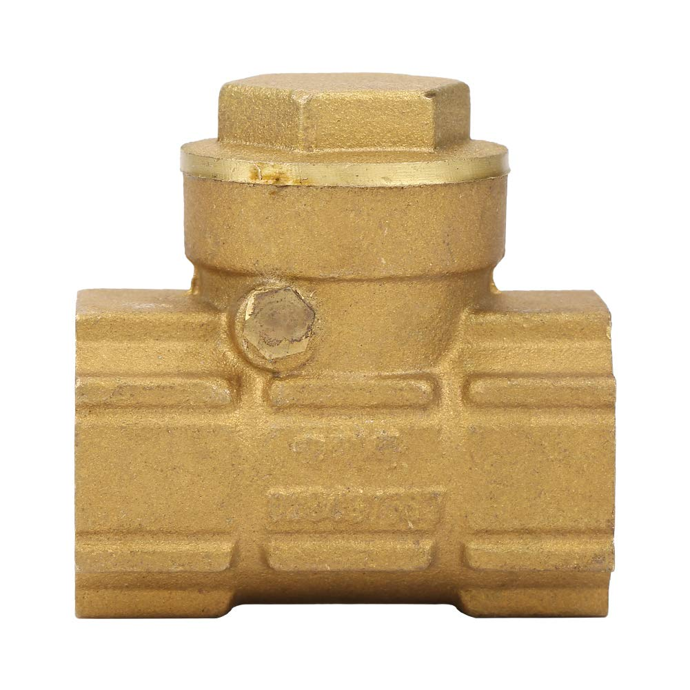 Check Valve DN15 Brass One-Way Automatic Swing Check Valve for Water Oil Acidic Media