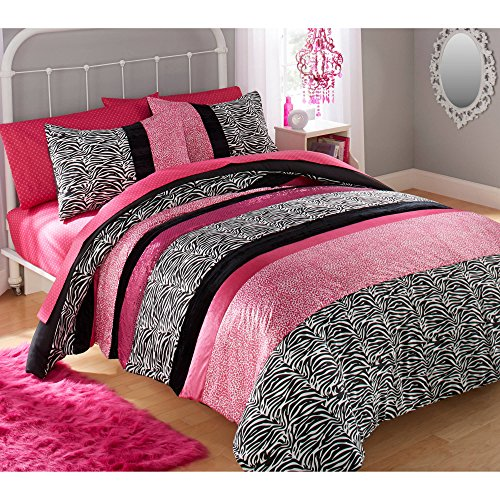 2 Piece Light Pink Black Animal Print Twin Comforter Set, Black White Zebra Printed Jungle Safari Zoo Themed Black Bold Line All Over Geometric Printed Kids Bedding For Bedroom, Polyester (Pink Diamond Zebra)