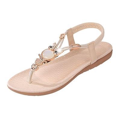 Sandalen Damen Flache Sandaletten Riemen mit Bunten Perlen