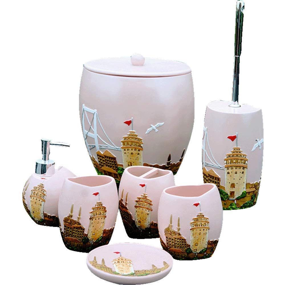 QiXian Pink Castle Bathroom Seven Piece Resin Bathroom Bathroom Set Washing Set Toilet Brush Bucket Trash Can Strong Sturdy