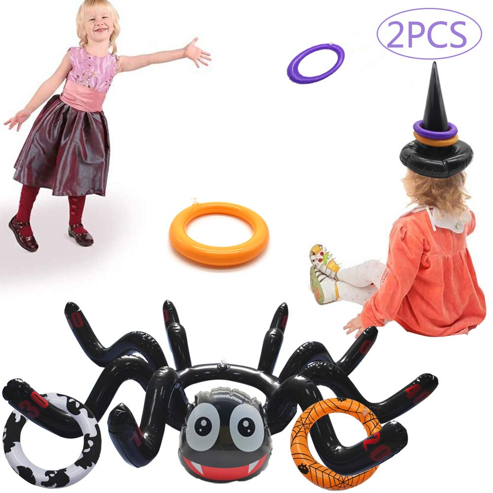 LANWANGJI Halloween Ring Toss Game 2 Pcs Inflatable Spider Witch Hat Ring Toss Game with 10 pcs Rings Perfect for Halloween Party Favors Halloween Party Game