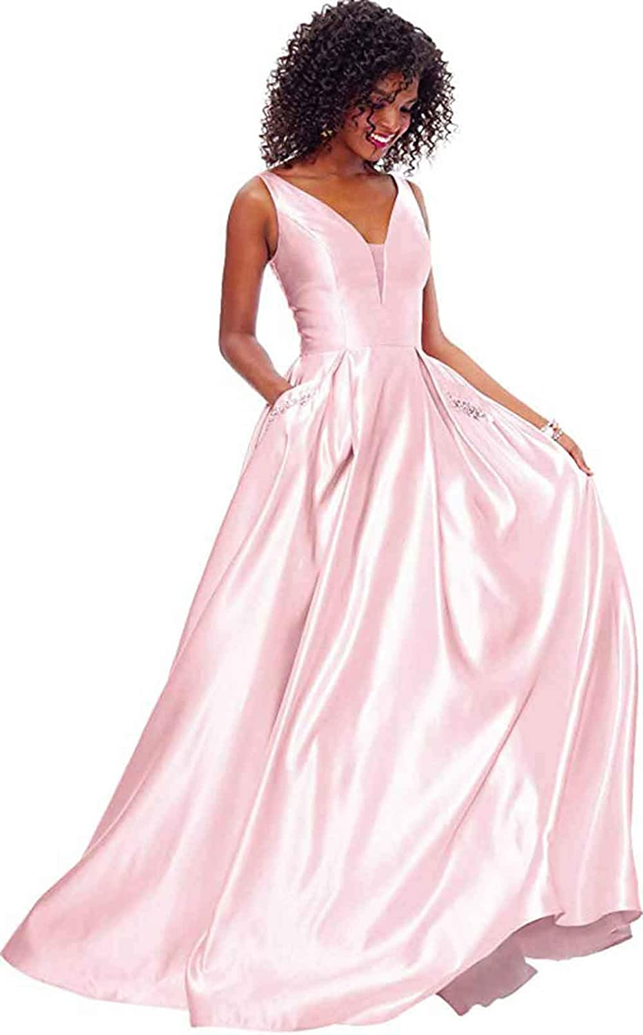 bluesh Pink Rmaytiked Womens V Neck Beaded Prom Dresses Long Satin A Line Formal Evening Ball Gowns with Pockets