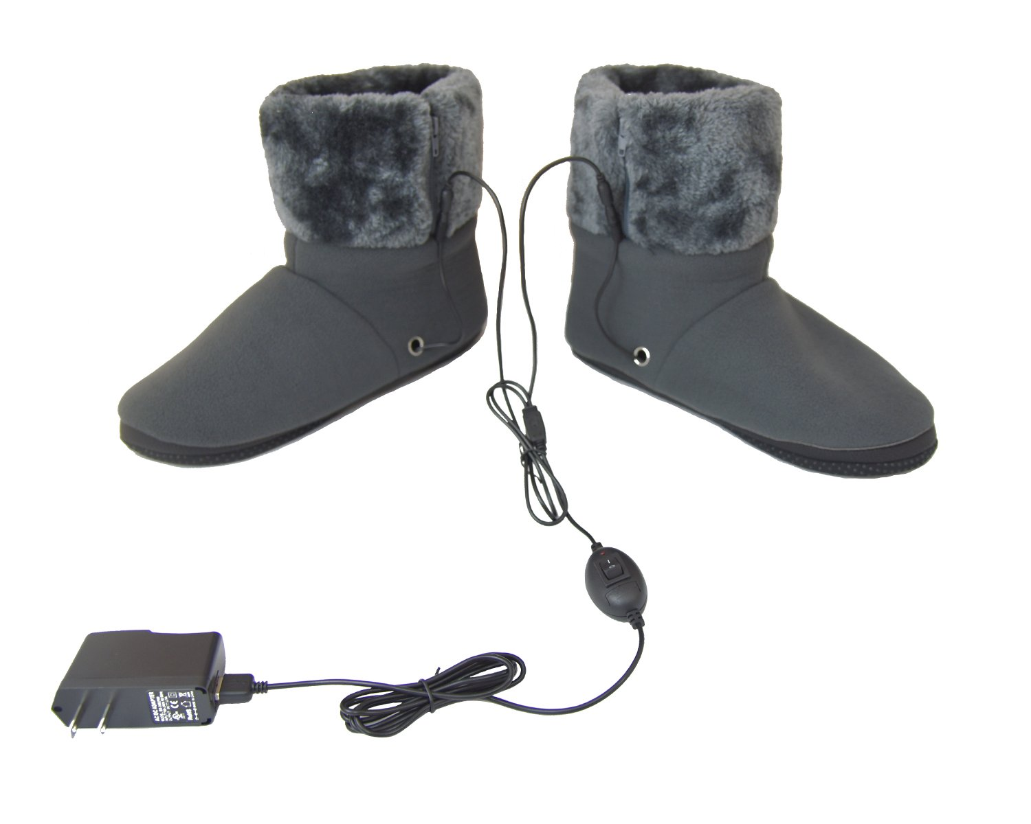 ObboMed® MF-2300L USB 5V 10W Cozy Carbon Fiber Heated Warming Booties Soft Sole – Size: L: #45.5 (fits foot up to 45.5) -Heating Slippers, Infrared Shoe, Warm Pad, Foot Heater, Cold feet solution