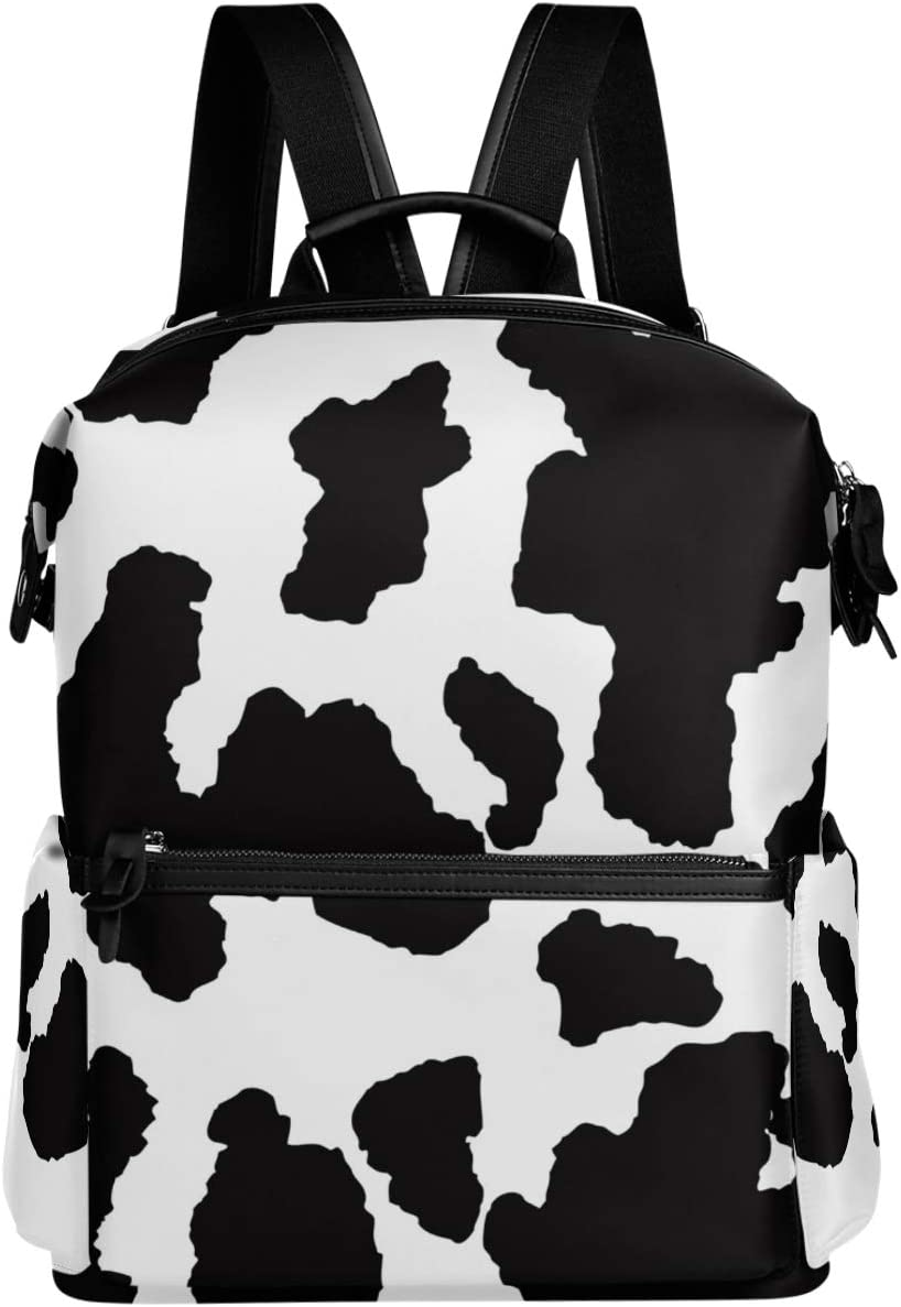 Oarencol Black and White Cow Funny Art Backpack Winter Black Print School Book Bag Travel Hiking Camping Laptop Daypack