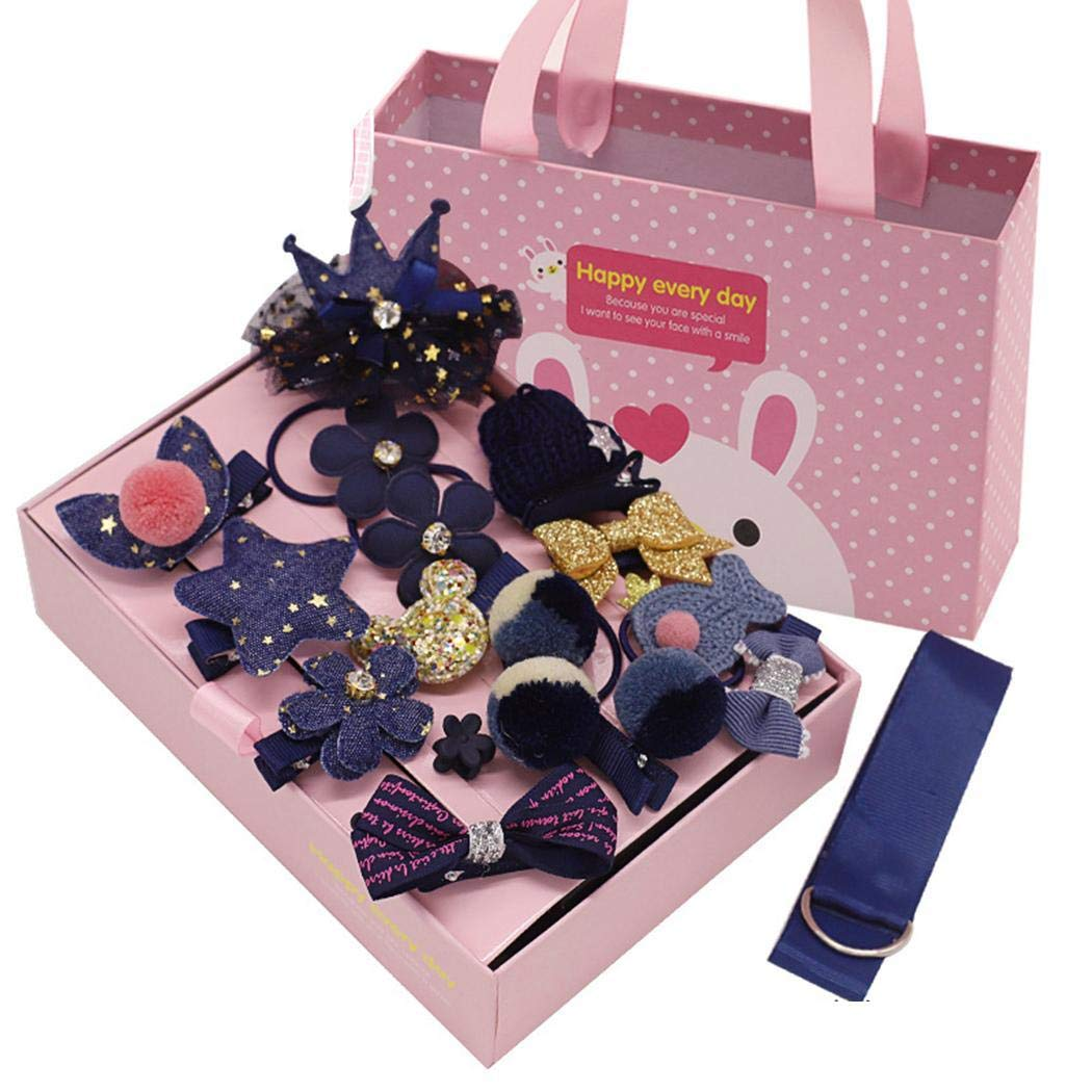 tiowea Children Girls Bow Hair Clips Set Cartoon Rubber Hair Ring Band Hair Accessories Headbands