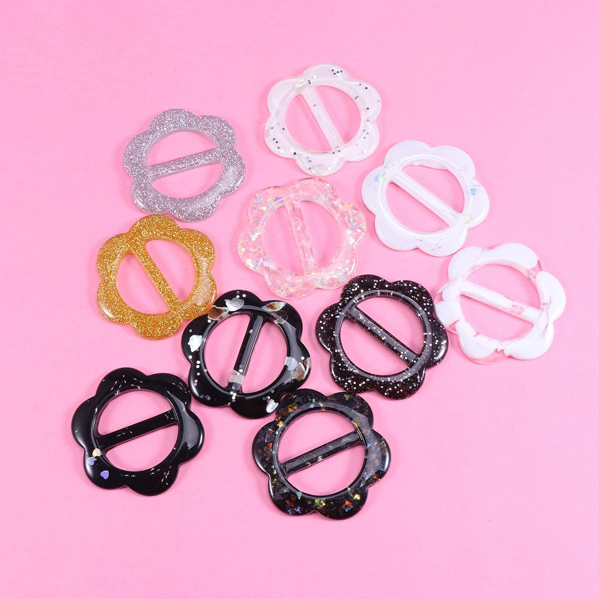 Artibetter 10pcs Tee Shirt Clips Flower Shape Clothing Ring Wrap Holder For Women Girls Neckerchief Clothing T-Shirt