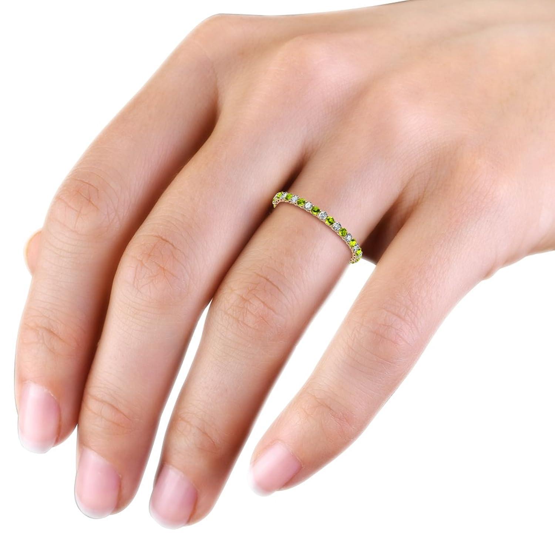 Amazon.com: Peridot and Diamond 2mm Shared Prong Eternity Band 0.87 ...