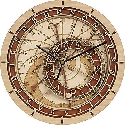 RENYAYA Reloj De Pared, Praga Astronómico Reloj De Madera, Antiguo Vintage Retro Estilo Casa Hotel Oficina Decoración Regalo Reloj De Cuarzo Mudo, 30CM