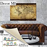 """Image of Decor Mi Vintage World Map Canvas Wall Art Retro Map of the World Canvas Prints Framed and Stretched for Living Room Ready to Hang 24""""x35"""" …"""