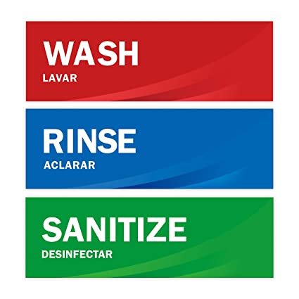 photograph about Wash Rinse Sanitize Printable Signs identified as Clean Rinse Sanitize Sink Labels, Quality Water-resistant Sticker Signs and symptoms for Eating places, Business Kitchens, Meals Vans, Bussing Stations, Dishwashing or