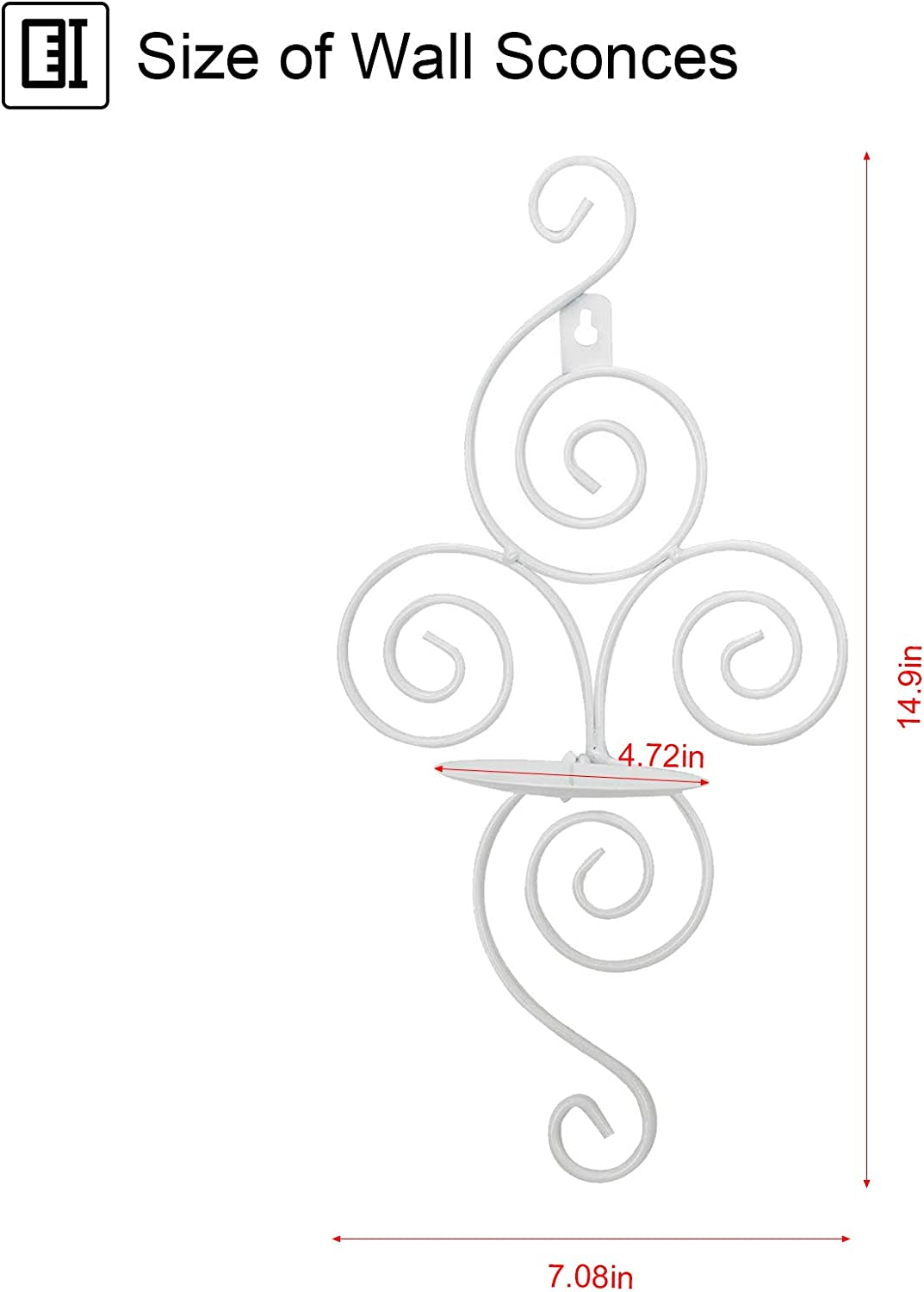 Dyna-Living Wall Sconce Candle Holder Wall Candle Sconces Set of 2 Elegant Swirling Iron Hanging Wall Candle Holders for Living Room Bathroom Fireplace Interior Home Decor(White): Kitchen & Dining