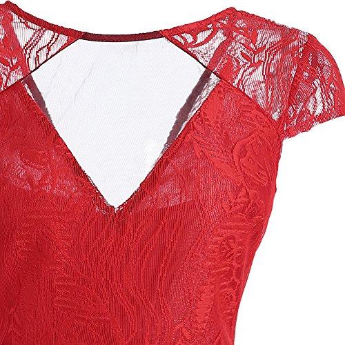 Femme Rouge 4 Soire iBaste Robe Swing Cocktail Rockabilly de xg47Hw1