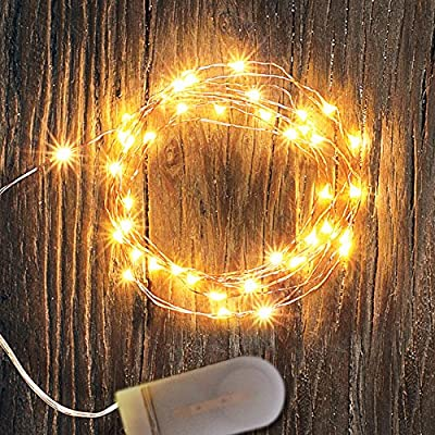 6PCS Fairy Lights Battery Operated 6.5Feet Copper Wire with 20 LED String Lights,Include 12PCS x CR2032 Batteries Starry String Lights for Party Xmas Wedding Table Decorations,Warm White