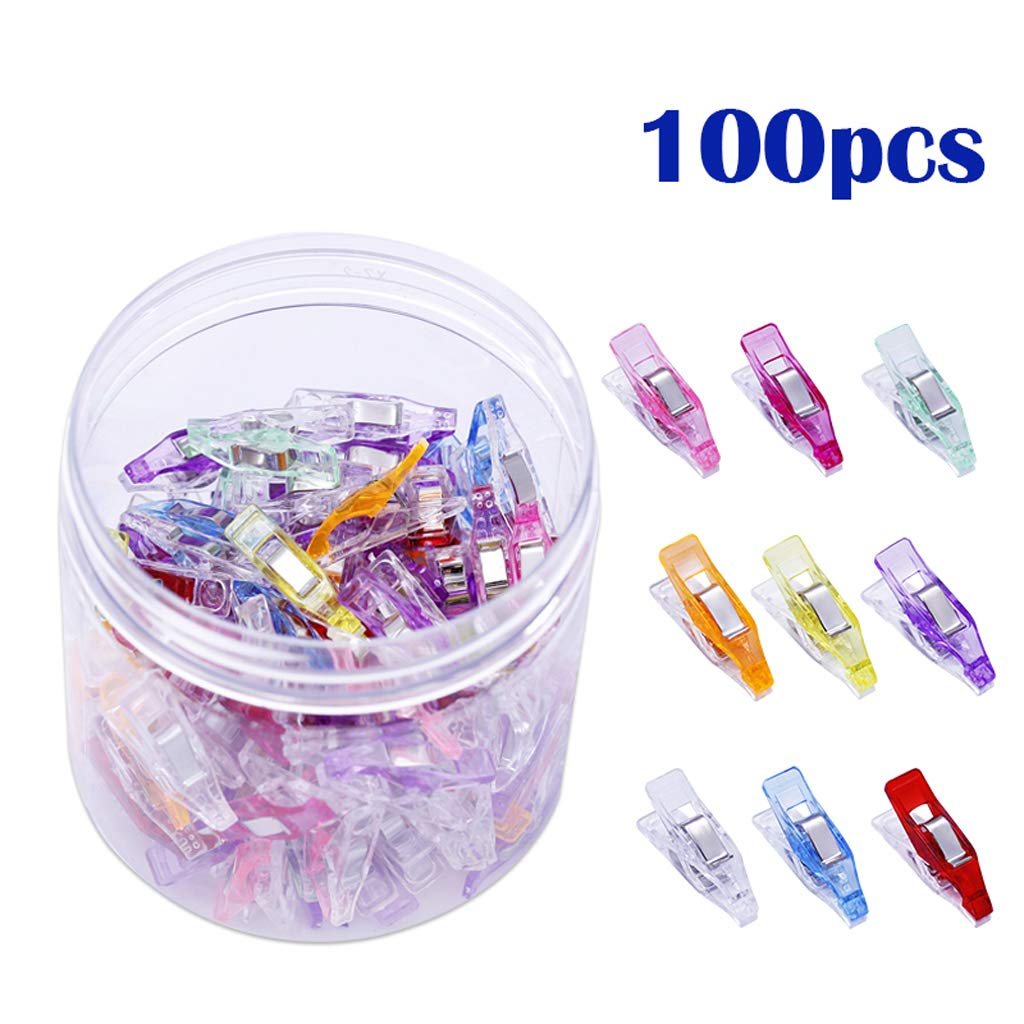B Blesiya Craft Multipurpose Sewing Clips Binding Clips Quilting Clips with Package Box Assorted Colors Pack of 100