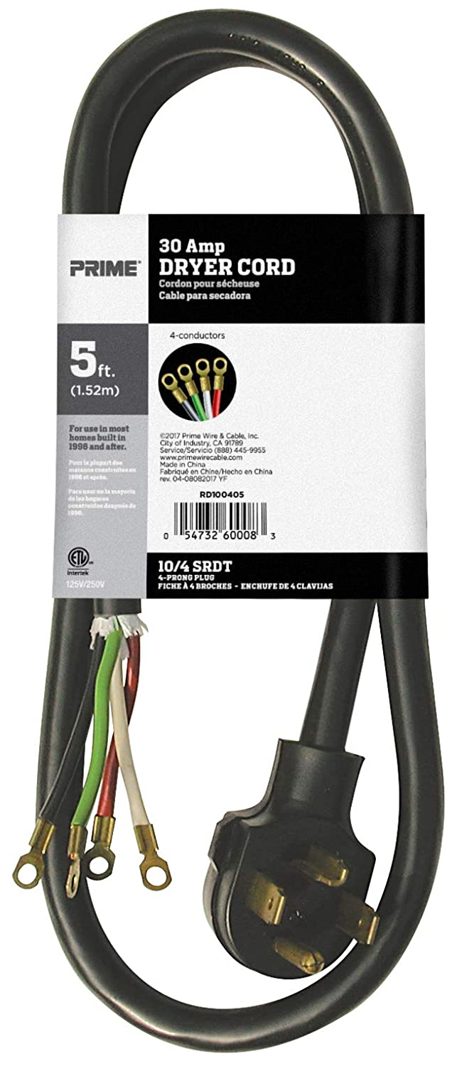 Prime Rd100406l 3 Pole 4 Wire Srdt 30a 125 250 Dryer Cord Volt Receptacle Wiring Black 6 Feet Extension Cords