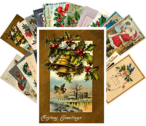 Vintage Christmas Greeting Cards 24pcs Antique Merry Christmas Angels Santa REPRINT Postcard Set