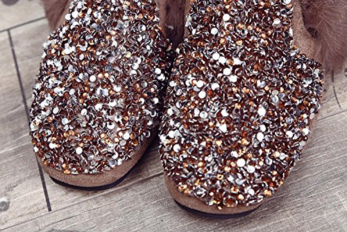 Flat Shoes amp; Bling Flops DANDANJIE New Flip And Brown Plush Slippers Black Slippers Women's Outdoor Autumn Winter qn0qXW6w1R
