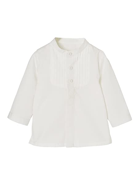 VERTBAUDET Camisa para bebé niño con Cuello Mao Blanco Claro Liso 18M-81CM: Amazon.es: Ropa y accesorios