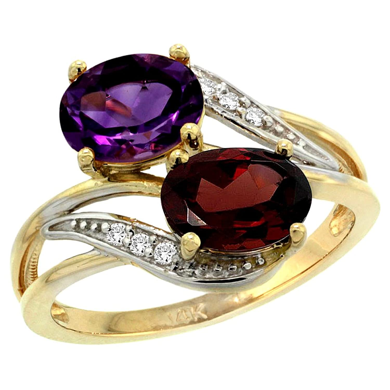 14K Yellow Gold Diamond Amethyst & Garnet 2-stone Ring Oval 8x6mm, sizes 5 – 10