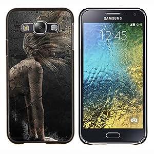 Chica rústico vintage- Metal de aluminio y de plástico duro Caja del teléfono - Negro - Samsung Galaxy E5 / SM-E500
