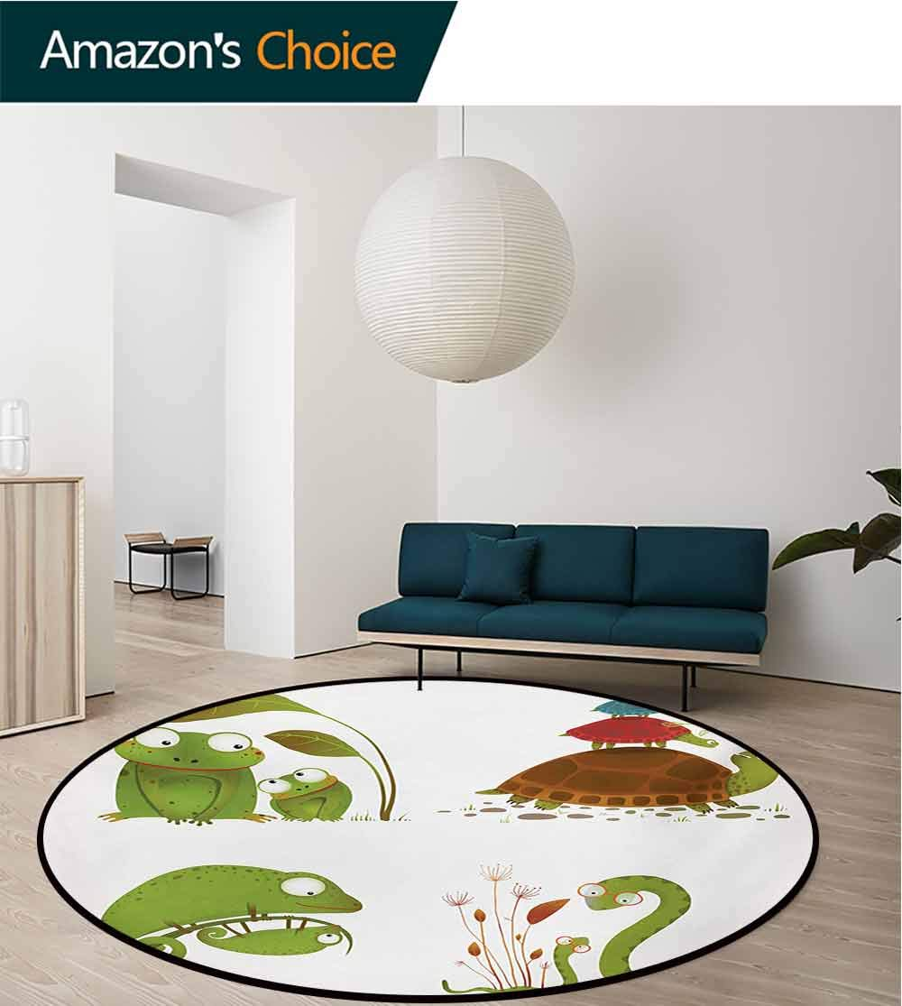 RUGSMAT Reptile Machine Washable Round Bath Mat,Reptile Family Colorful Baby Collection Snake Frog Ninja Turtles Love Mother Non-Slip No-Shedding Bedroom Soft Floor Mat,Diameter-55 Inch