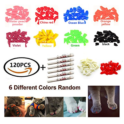 120Pcs Colorful Soft Cat Nail, CiaraQ Caps Claws Control Paws Of 6 Different Colors Caps Protect Furniture+ 6 Adhesive Glue (M)