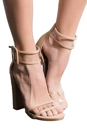 2378f787748 AKIRA Women's PVC Panel Straps Big Buckle Ankle Cuff Chunky Heel Sandals