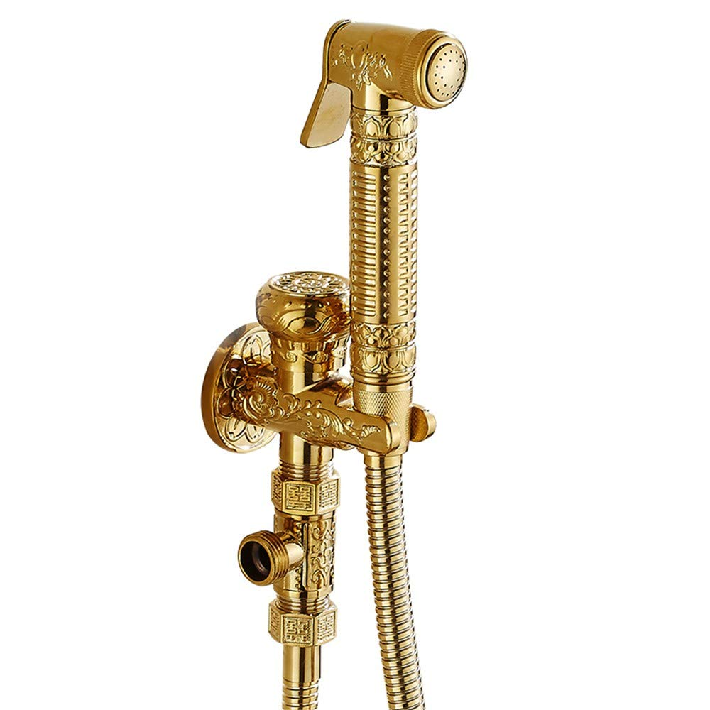 European style all copper angle valve bidet irrigator toilet golden spray gun mop pool washing machine antique faucet set