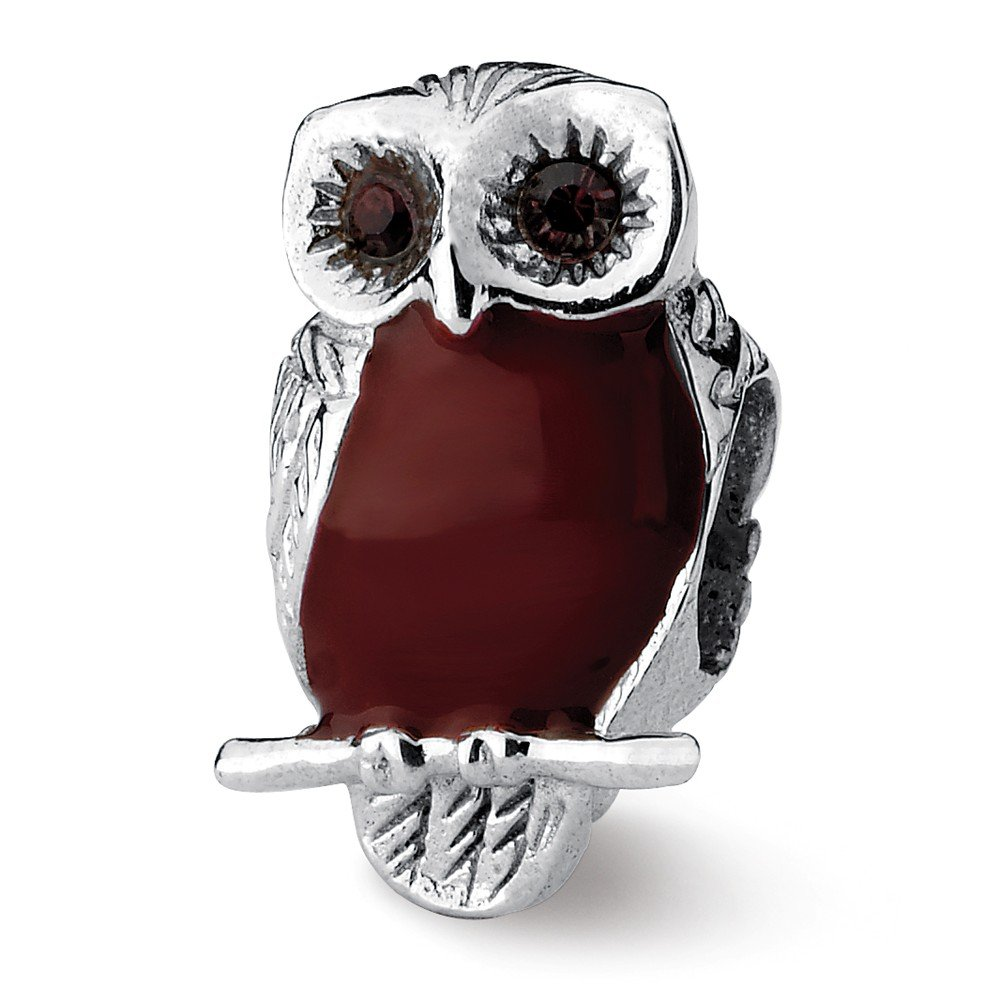 Jewelry Beads Stones /& Crystals Sterling Silver Reflections Brown Enameled Wise Owl Bead