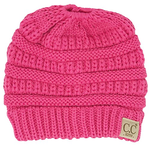 592c75a267 BT2-3847-80 Kids Messy Bun Ponytail Winter Hat Girls Beanie Tail - Candy