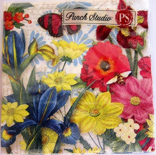 40 Ct Punch Studio Boutique #93766 Summer Bright Garden Floral Paper Cocktail / Beverage Napkins
