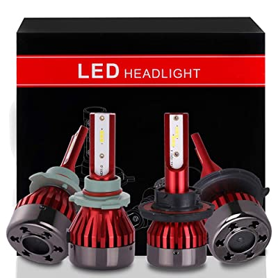 ECCPP 9005+H13 LED Headlight Bulb Super Bright Cree White Auto Headlamp Conversion Kit High Low Beam - 19200Lm 160W 6000K Focus Light - 5 Years Warranty(Pack of 4): Automotive