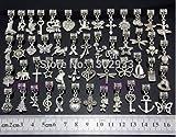 Wholesale 50 pcs /Lot Mix butterfly heart horse cross Vintage Silver Dangle Charms Jewelry DIY Findings Fit European Bracelet