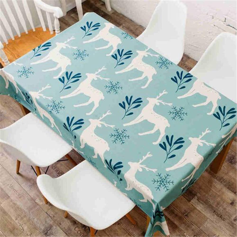 LYJZH Mantel Fresco algodón Impermeable Mantel de Lino Transpirable Buen Mueble TV TV Ambiental paño de Mesa Blanco Sika Ciervo 110 * 140 cm
