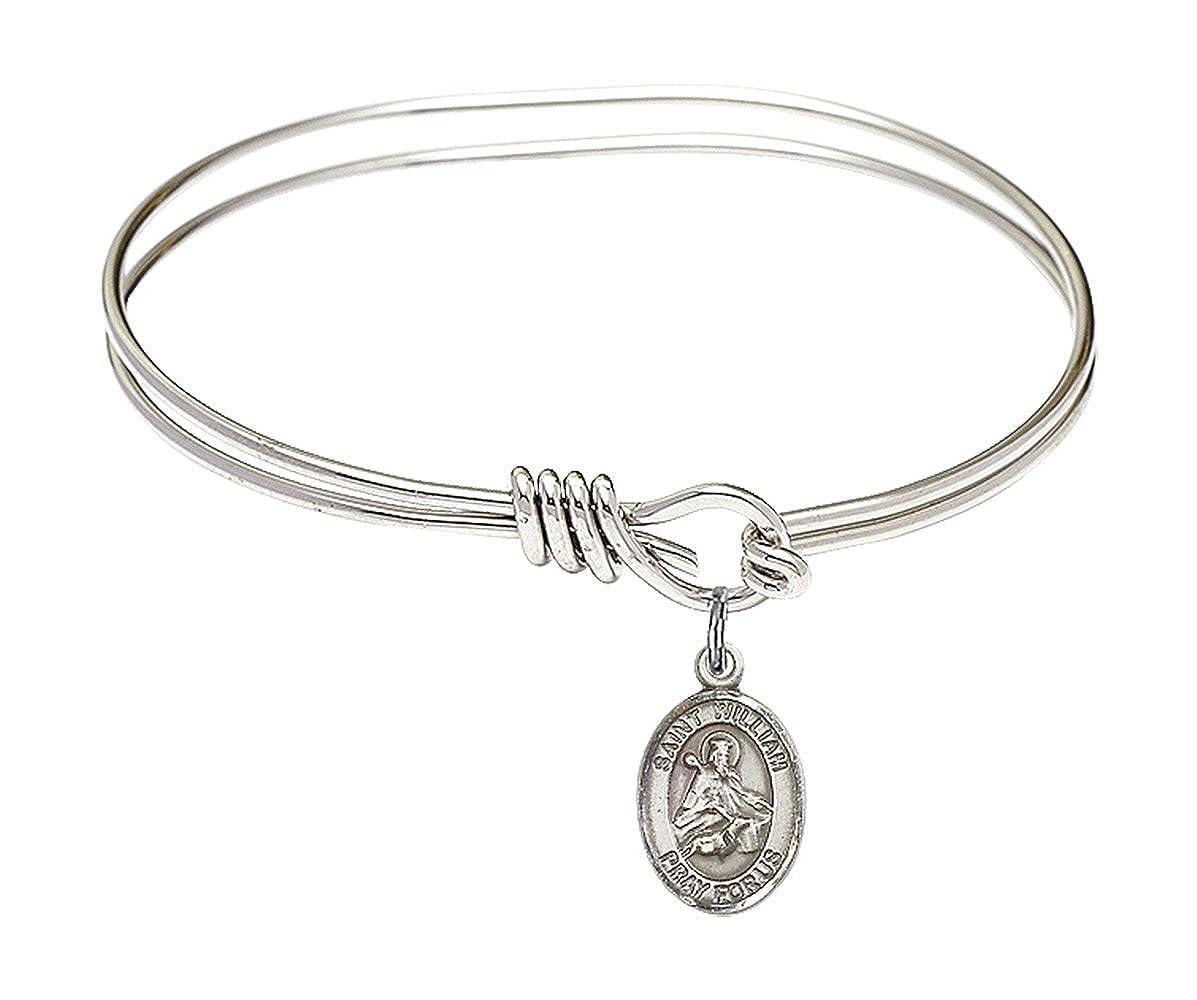 William Of Rochester Charm On A Child Sized 5 3//4 Inch Oval Eye Hook Bangle Bracelet St