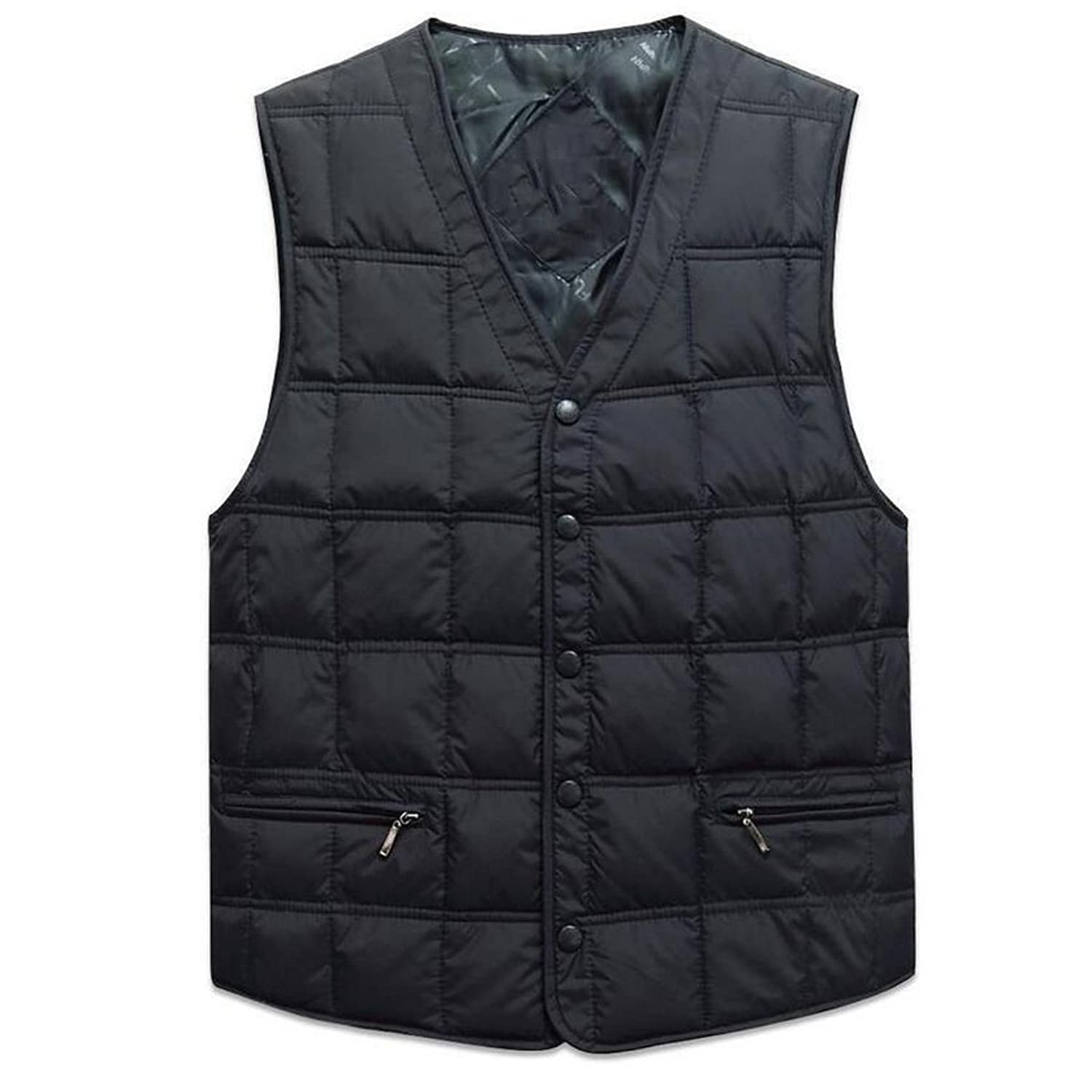 Cityelf Men's Basic Pockets Utility Thermal Duck Thick Down Puffer Vest MJM0005