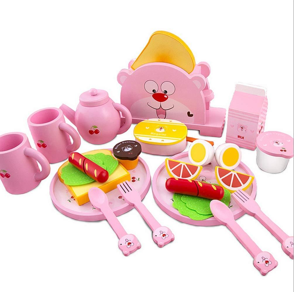Kinderspielzeug Frühstück Toy Tea Pot Dinner Ware Brot und Butter Toaster Set aus Holz Play Food und Küche Zubehör Geburtstagsgeschenk
