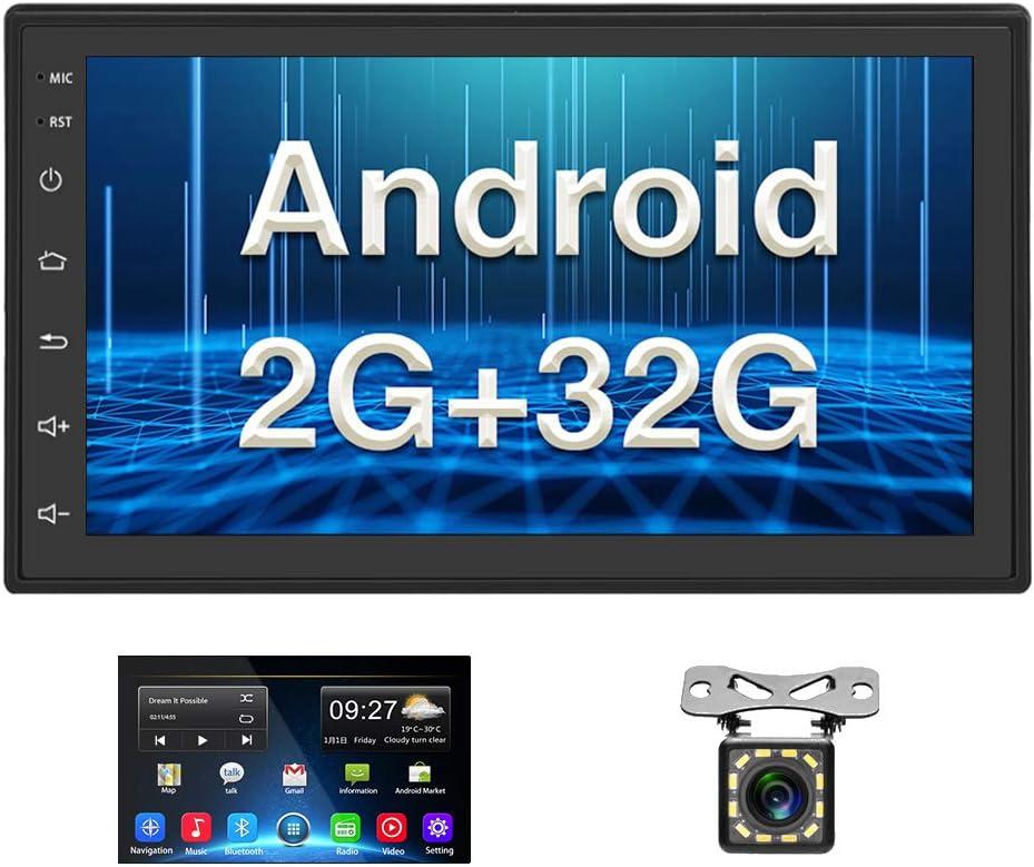 Android Coche Radio 2 DIN GPS 2G+32G CAMECHO 7 Pulgadas Pantalla táctil Completa Bluetooth WiFi Reproductor de Radio FM Duplicar Pantalla para teléfonos iOS Android + Cámara de Respaldo