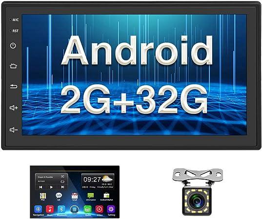 Android Coche Radio 2 DIN GPS CAMECHO 2G+32G 7 Pulgadas Pantalla táctil Completa Bluetooth WiFi Reproductor de Radio FM Duplicar Pantalla para ...