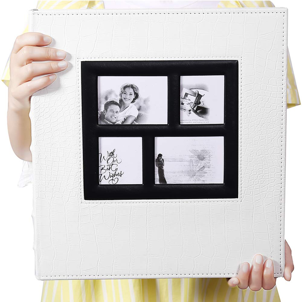 Vienrose Photo Album for 600 4x6 Photos Leather Cover Extra Large Capacity for Family Wedding Anniversary Baby Vacation (White with Crocodile Pattern & 600 Pockets)