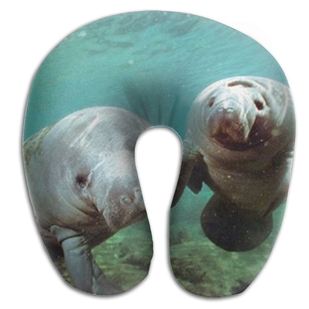 CRSJBB219 Pair of Manatee Doug Perrine Ocean Animal Comfortable Travel Pillow,Neck Pillow,a Memory Foam Pillow That Provides Relief and Support for Travel,Home, Neck Pain