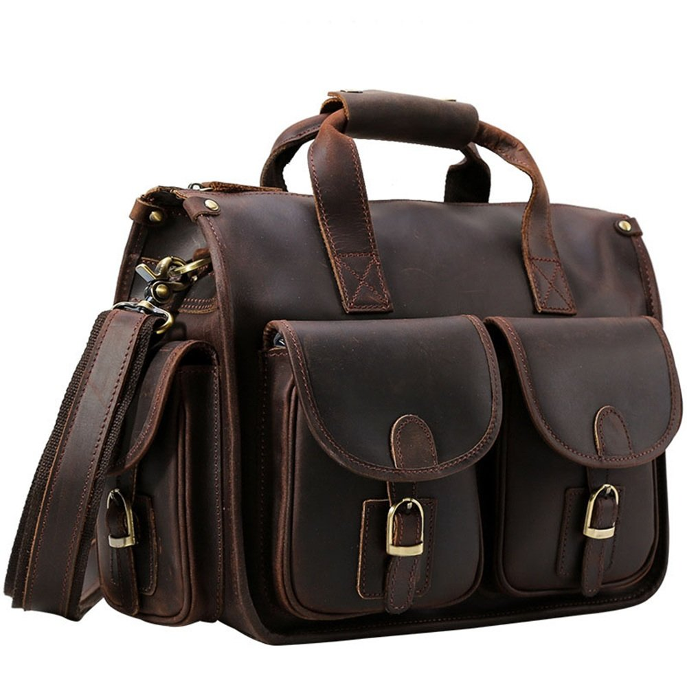 Balalafairy-bri New Small Simple Leather Briefcase A4 Business File Package Laptop Bag Men and Women Leather Envelope Bag Color : Brown, Size : 35x27x2cm