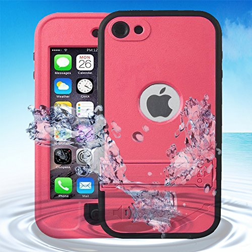 Auskic iPod 5 Case iPod 6 Case iPod 5 iPod 6 Waterproof Case, Waterproof Shockproof Dirtproof Protective Cover Case with Kickstand for iPod Touch 5th/6th Generation (Pink)