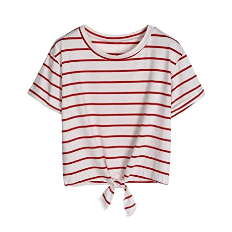 6c329088eb donne camicetta, ❤ Familizo donna sexy nodo anteriore, maglietta t-shirt /corto