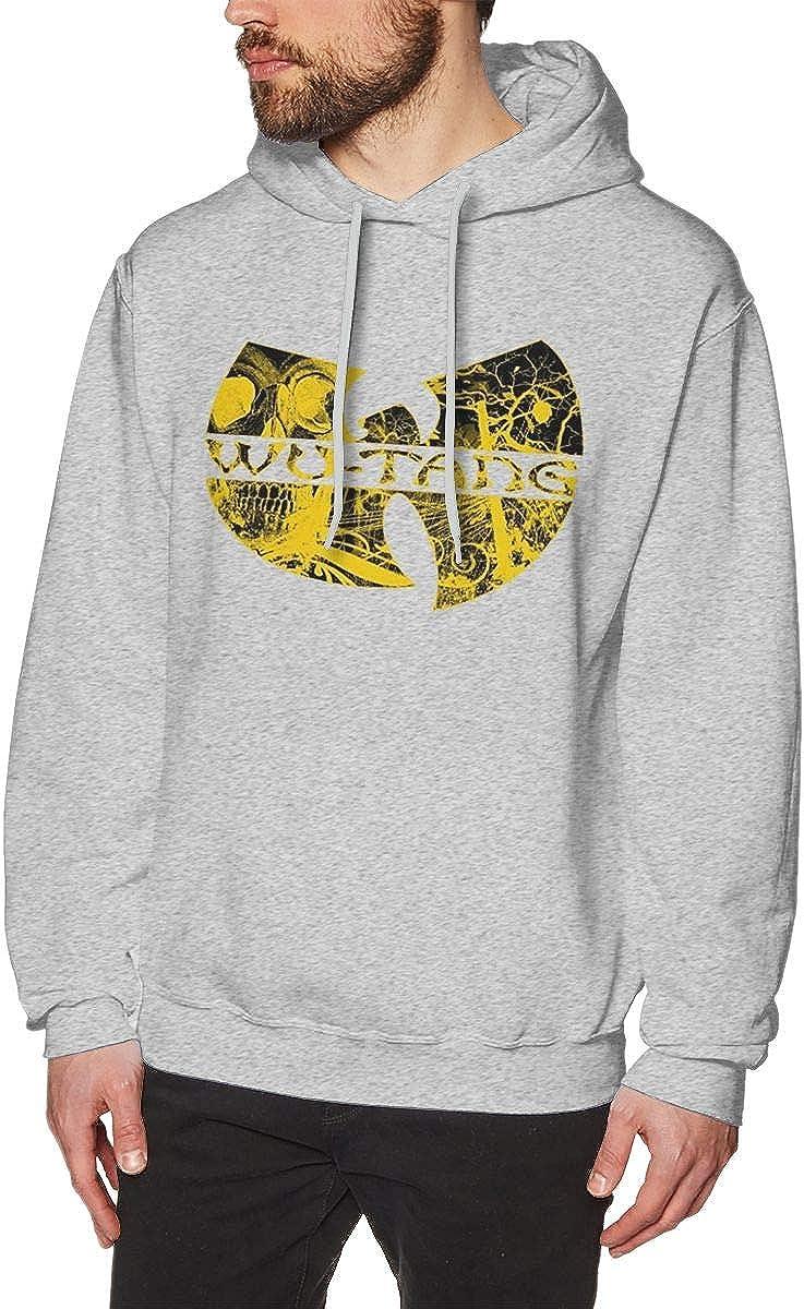 Mens Winter Hooded Pocketless Sweatshirt LooseWu Tang Logo Gray S