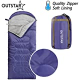 OUTSTAR Lightweight Waterproof Envelope Mummy Sleeping Bag With Compression Sack for Kids or Adults Outdoor Camping, Travelling, Hiking & Backpacking